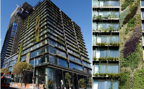 Vertical gardens at Central Park building in Sydney, Australia - 20 May 2013